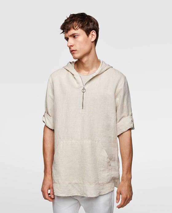 Camisa Rústica com capuz; zara; 29,95