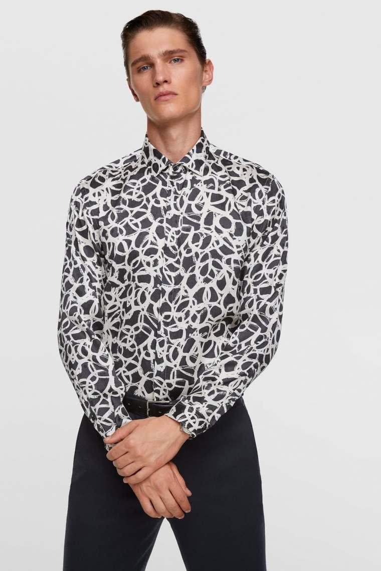 camisa com estampado bicolor. 29,95