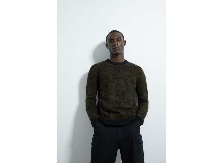 sweater de jacquard com estampado de camuflagem. 35,95